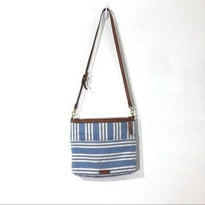 Fossil Blue White Striped Crossbody Bag